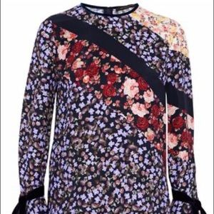 Mother of Pearl Velvet trimmed floral silk top